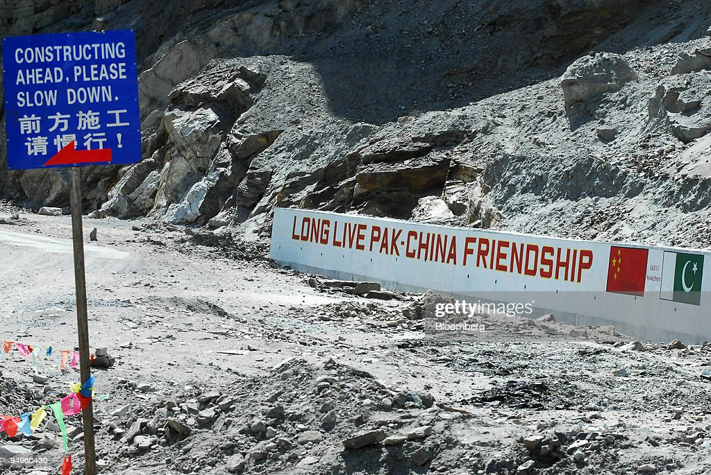 A sign reads 'Long Live Pak-China Friendship' on a section o : News Photo
