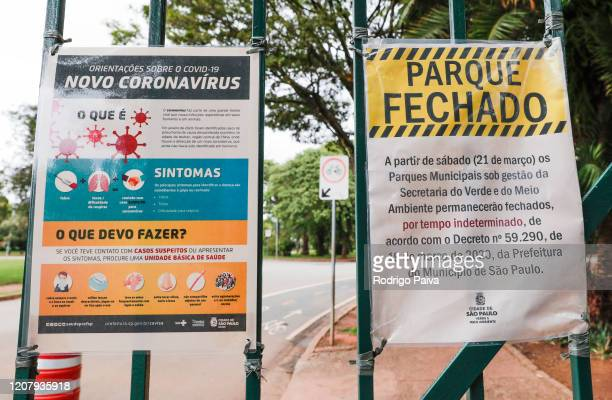 A sign reads Park Closed outside the gates of Ibirapuera Park during a lockdown aimed at stopping the spread of the coronavirus pandemic on March 21...