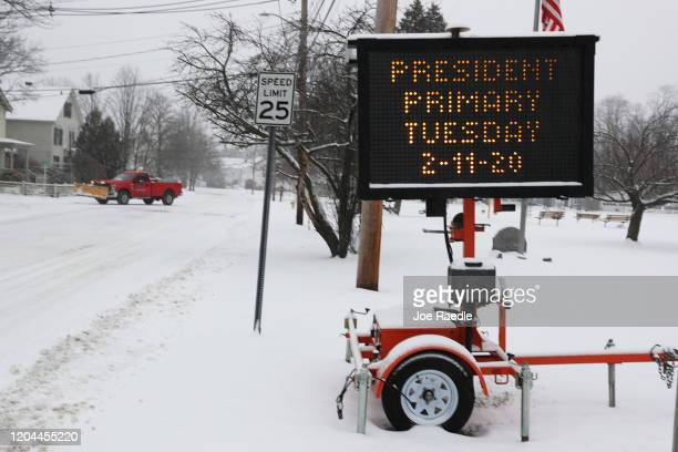 A sign reads' President Primary Tuesday 21120 as the state prepares for the first primary of the political season on February 06 2020 in Exeter New...