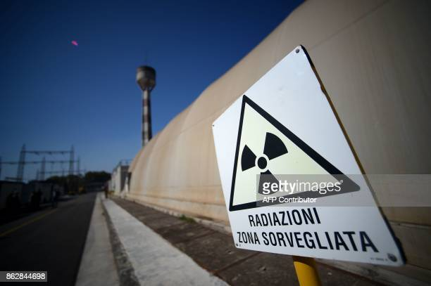 A sign reads 'Radiations supervised area' at the Garigliano Nuclear Power Plant located at the outskirts of Sessa Aurunca 160km southern Rome on...