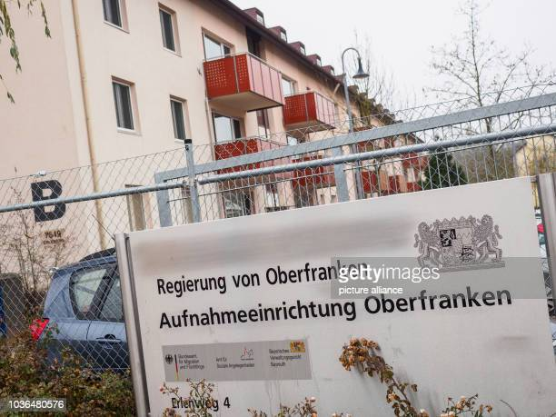 A sign reads 'Regierung von Oberfranken Aufnahmeeinrichtung Oberfranken' seen at the Upper Franconia processing facility in Bamberg Germany 07...