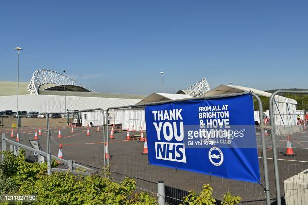 A sign reads Thank you NHS at the entrance to a COVID19 testing centre set up to test workers of Britain's NHS at the American Express Community...