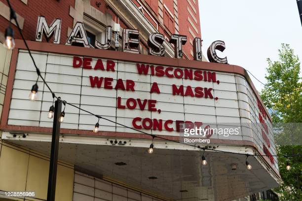 A sign reads Wear A Mask outside the Majestic Theatre music venue in Madison Wisconsin US on Wednesday Sept 23 2020 A Wisconsin judge ruled that...