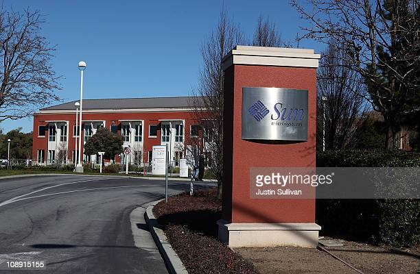 A sign remains in front of the former Sun Microsystems campus on February 8 2011 in Menlo Park California Facebook announced today that it will move...