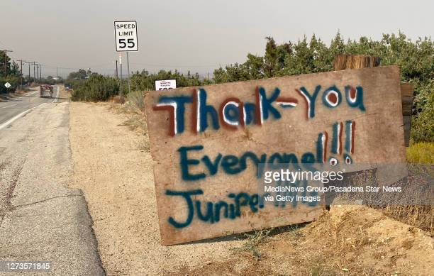 A sign rereads Thank you Everyone Juniper Hills during the Bobcat Fire in Juniper Hills on Saturday September 19 2020