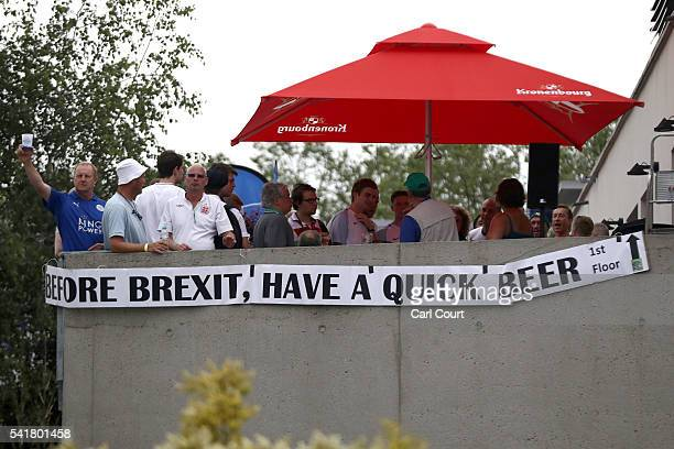 A sign saying 'Before Brexit Have A Quick Beer' is hung from a bar near the stadium hosting the England v Slovakia UEFA Euros 2016 Group B match on...