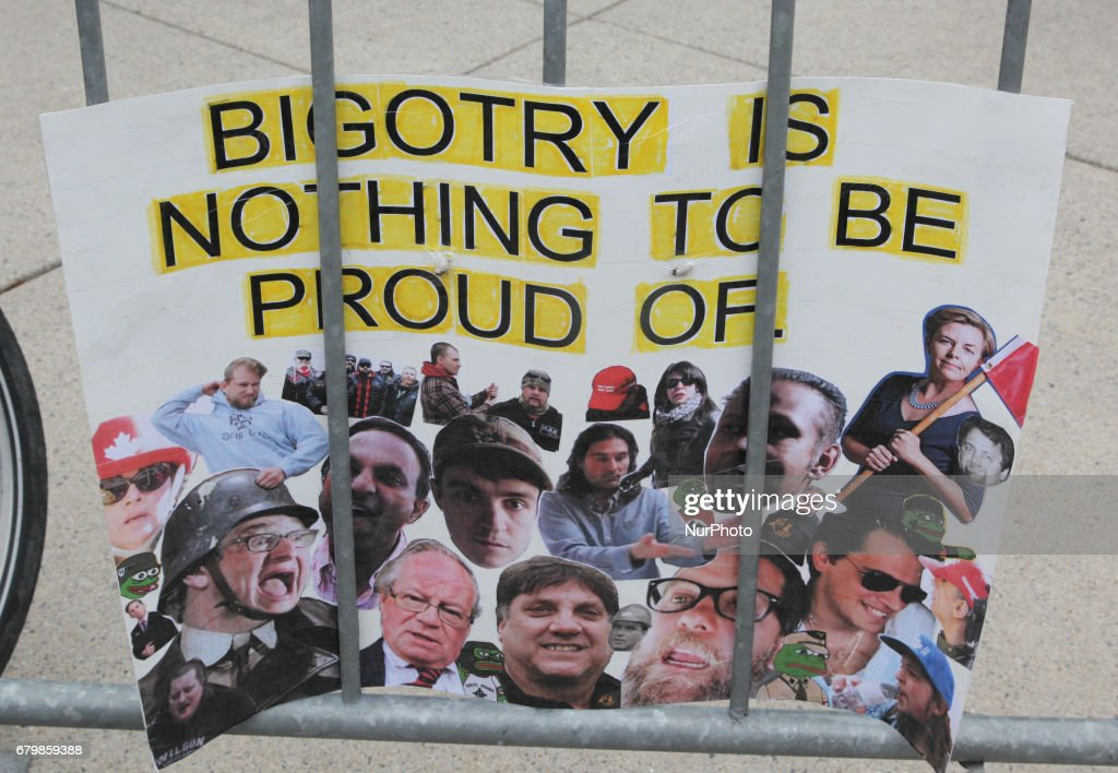 Sign saying 'bigotry is nothing to be proud of' during a rally against Islamophobia, White Supremacy & Fascism in downtown Toronto, Ontario, Canada, on May 06, 2017. Protesters clashed with anti-Muslim and fascist groups while hundreds of police officers were deployed to maintain control. Groups such as the Concerned Coalition of Canadian Citizens, the Soldiers of Odin, and the Jewish Defense League blame Muslims and 'Sharia Law' for unemployment, austerity and social cuts.