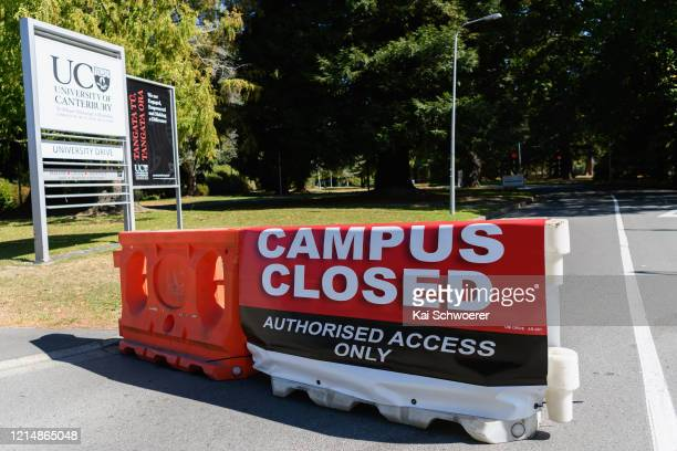 Sign saying Campus closed is seen at the University of Canterbury on March 26, 2020 in Christchurch, New Zealand. New Zealand has gone into lockdown...