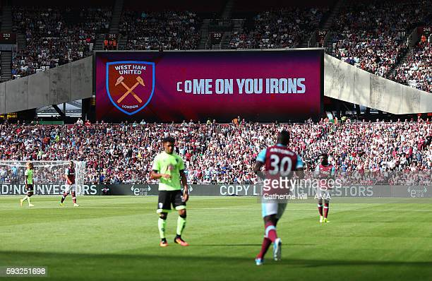 A sign saying come on you irons during the Premier League match between West Ham United and AFC Bournemouth at Olympic Stadium on August 21 2016 in...