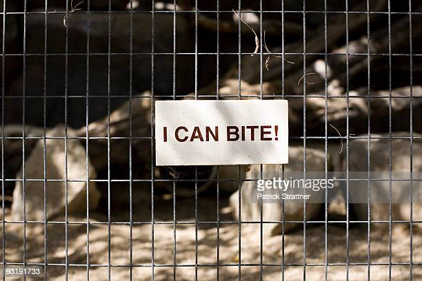A sign saying I CAN BITE! on a cage