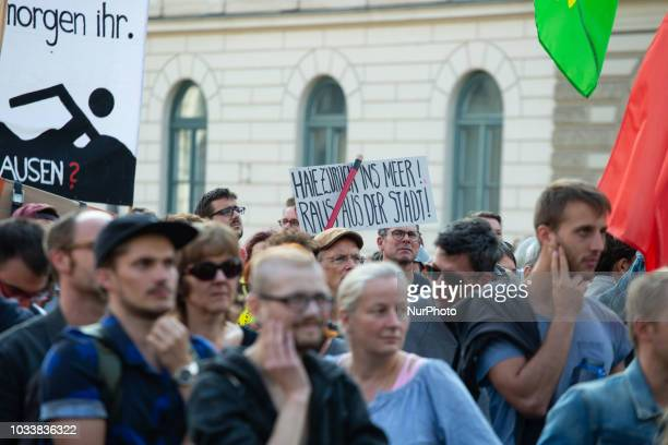 SIgn saying the speculators shoould go home. Among the police more than 7000 people protested under the motto #Ausspekuliert against too high rentals...