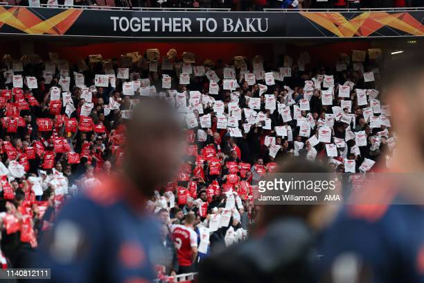 A sign saying Together to Baku during the UEFA Europa League Semi Final First Leg match between Arsenal and Valencia at Emirates Stadium on May 2...