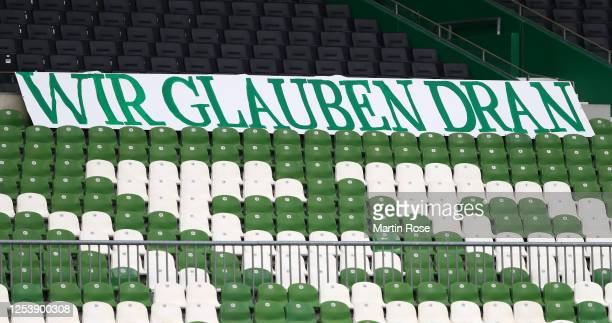 Sign saying we believe is dsplayed in the stands during the Bundesliga playoff first leg match between Werder Bremen and 1. FC Heidenheim at...