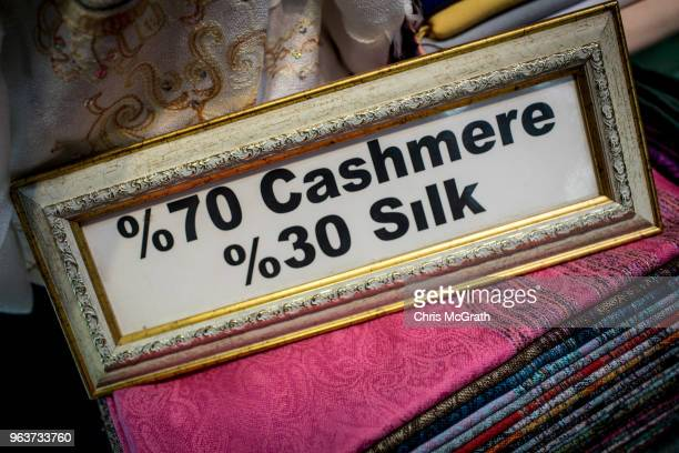 A sign showing cashmere products on sale is seen at a shop in Istanbul's famous Grand Bazaar on May 30 2018 in Istanbul Turkey Fears are growing that...