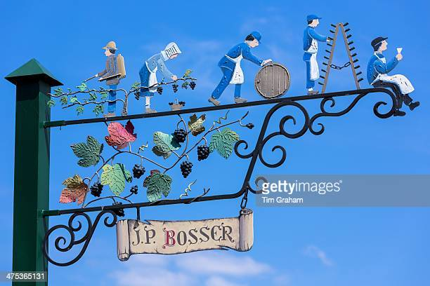 Sign showing champagne wine production at individual producer J.P. Bosser in Hautvillers near Epernay, Champagne-Ardenne, France