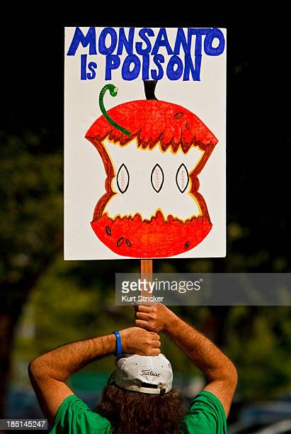 CONTENT] A sign showing displeasure in the practices of agribusiness Monsanto rests on the head of an anonymous protester during a gathering in...