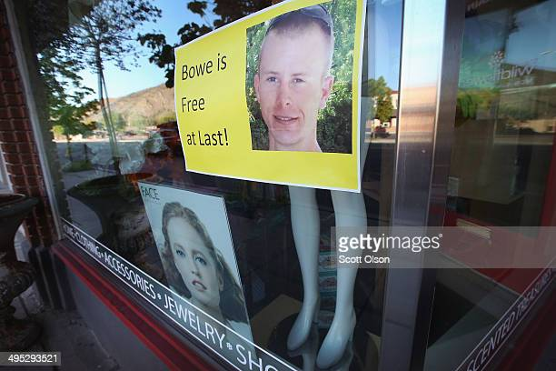 A sign showing support for Sgt Bowe Bergdahl hangs in a store window along Main Street on June 2 2014 in Hailey Idaho Sgt Bergdahl was released from...