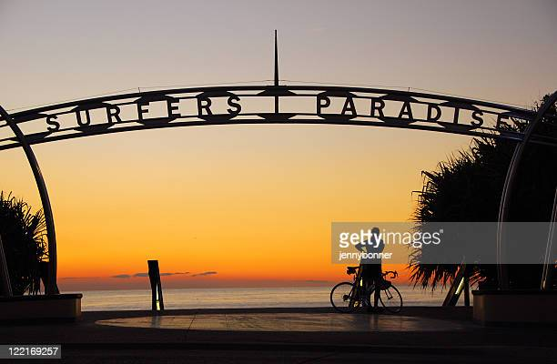 a sign showing surfers paradise in queensland, australia - gold coast queensland stock pictures, royalty-free photos & images
