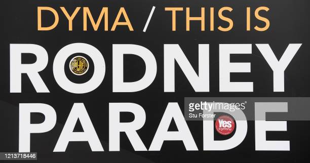 Sign showing that 'This is Rodney Parade' home stadium of Newport County Football Club and Newport Gwent Dragons Rugby Union Club is pictured at...