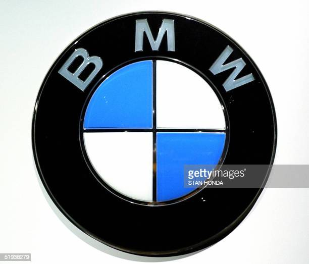 A sign showing the corporate logo for BMW 11 January 2005 at the North American International Auto Show at Cobo Hall in Detroit MI AFP PHOTO/Stan...