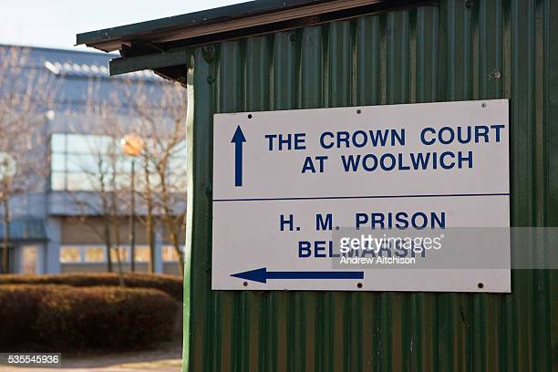 A sign showing the direction to Woolwich crown court HMP Belmarsh HM Prison Belmarsh is a Category A men's prison located in the Thamesmead area of...