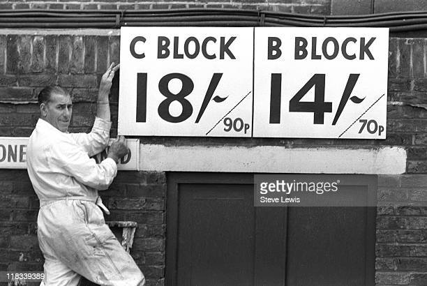 A sign showing the entry prices in shillings and pence following decimalisation at West Ham Football Club Upton Park Newham East London circa 1971