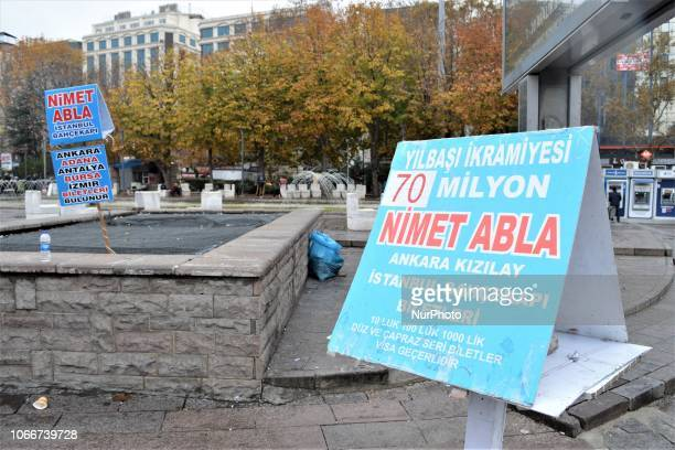 A sign showing the highest prize for New Year's lottery raffle is seen in the Kizilay district of Ankara Turkey on November 30 2018 This year's...