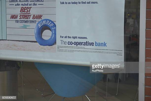 A sign showing the lastest products of the CoOperative Bank at the headquaters in Manchester Greater Manchester England on Thursday 3rd September 2015