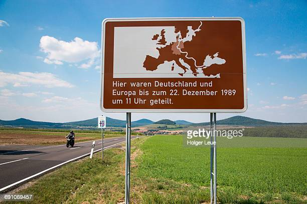 Sign shows former East and West German border