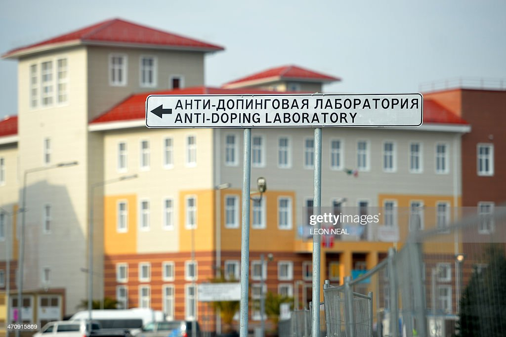 A sign shows the direction to the anti-doping laboratory of the 2014 Winter Olympic Games on February 21, 2014 at the Olympic Park in Sochi, as a German athlete has failed a doping test - the first such case to hit the Sochi Games. The German Olympic Sports Confederation (DOSB) said it had been informed by the International Olympic Committee (IOC) that the 'A' sample 'of a member of the German Olympic team produced a result that diverged from the norm'. NEAL