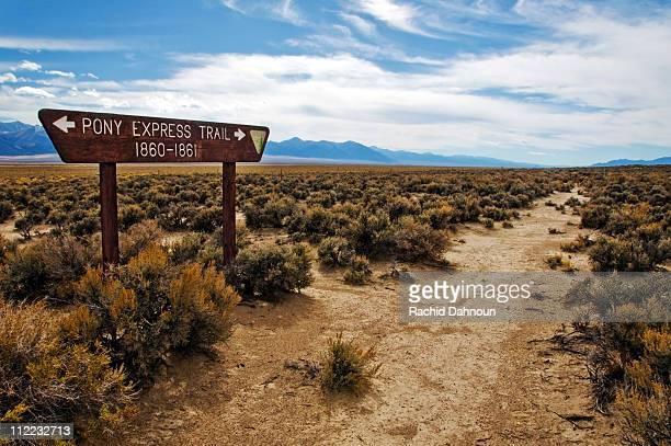 A sign shows the old Pony Express Route off of Highway 50, Nevada.