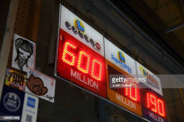 A sign shows the Powerball jackpot at $600 million on May 17 2013 in San Francisco California People are lining up to purchase $2 Powerball tickets...