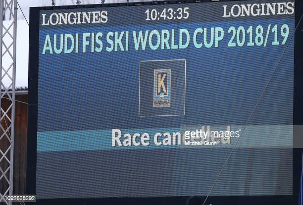 A sign signals race cancelled due to bad weather at the Audi FIS Alpine Ski World Cup Men's downhill on February 2 2019 at GarmischPartenkirchen...