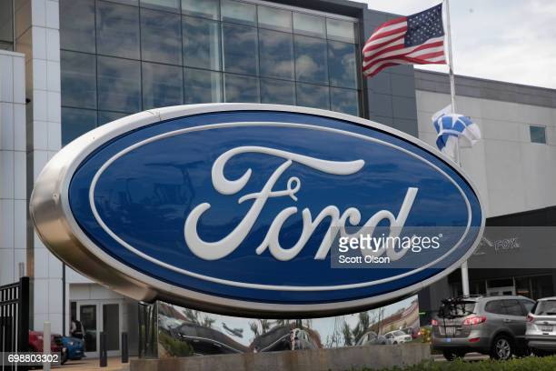 Sign sits in front of a Ford dealership on June 20, 2017 in Chicago, Illinois. Ford announced it will move production of the Focus from their Wayne,...