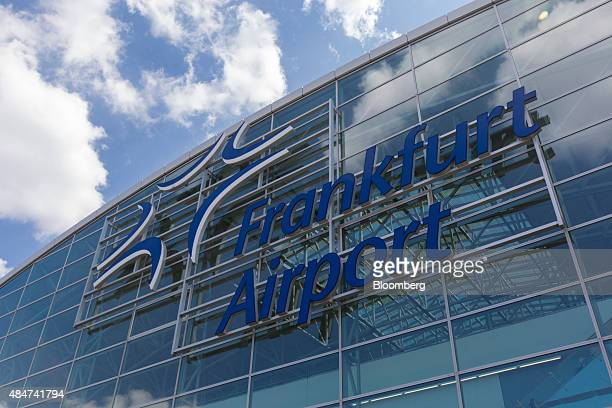 A sign sits on a glass exterior wall of Frankfurt Airport operated by Fraport AG in Frankfurt Germany on Friday Aug 21 2015 The Greek government's...