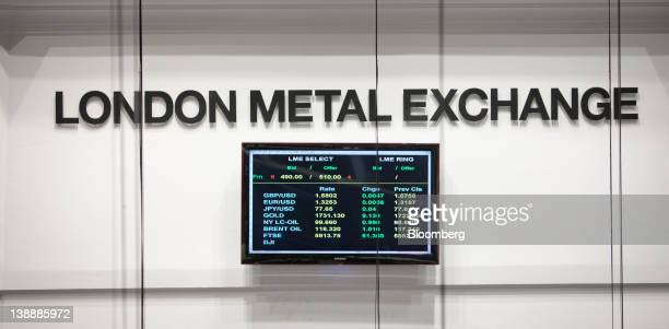 A sign sits on display above the trading floor of the London Metal Exchange in London UK on Monday Feb 13 2012 The London Metal Exchange set Feb 15...