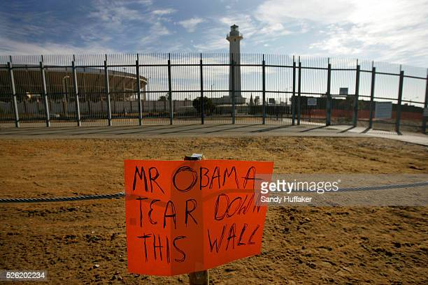 A sign sits on display during a rally to protest the United States Customs and Border Patrol's new fencing at Friendship Park in San Ysidro CA on...