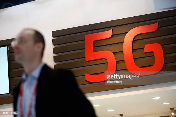A 5G sign sits on display in a hallway at the Mobile World Congress in Barcelona Spain on Tuesday March 3 2015 The event which generates several...