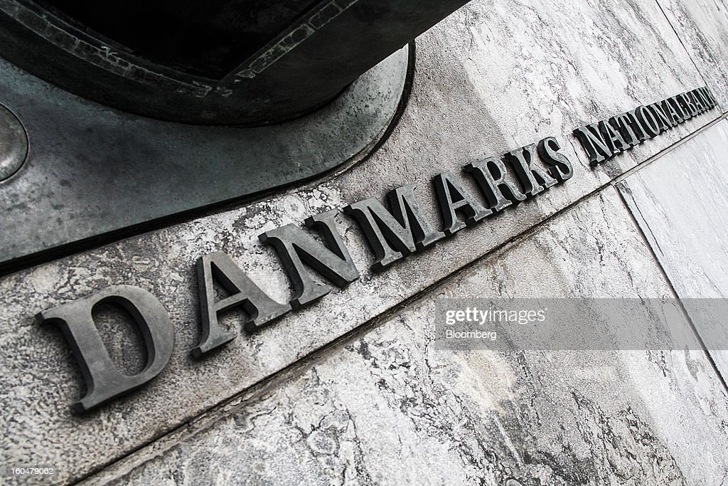A sign sits on display outside the headquarters of Denmark's central bank in Copenhagen, Denmark, on Friday, Feb. 1, 2013. Danish regional banks are struggling to emerge from a burst property bubble that's forced the government resolution agency to take over a dozen lenders after losses on commercial and agricultural loans wiped out capital. Photographer: Freya Ingrid Morales/Bloomberg via Getty Images