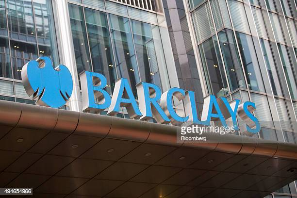 A sign sits on the Barclays Plc headquarters in the Canary Wharf business financial and shopping district of London UK on Wednesday Oct 28 2015...