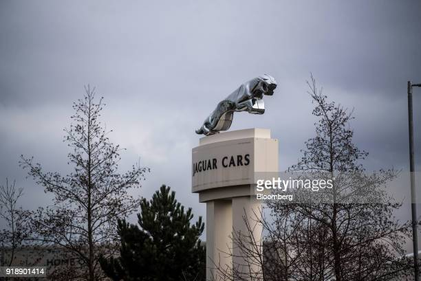 A sign sits outside Jaguar Land Rover Plc's assembly plant a unit of Tata Motors Ltd in Halewood UK on Monday Feb 5 2018 Being split off from their...