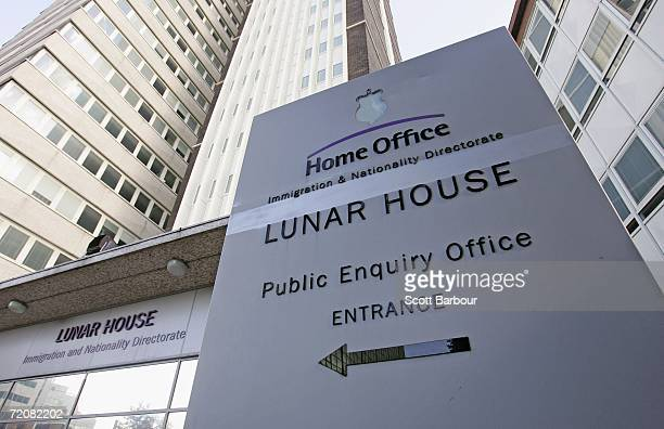A sign sits outside of Lunar House the headquarters of Britain's Immigration and Nationality Directorate on October 4 2006 in Croydon England The IND...