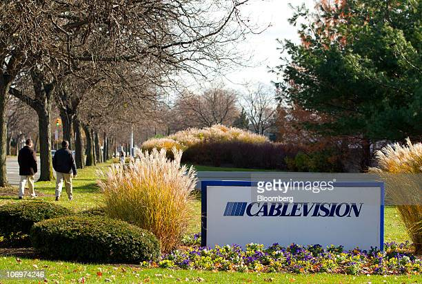Sign sits outside the Cablevision Systems Corp. Headquarters in Bethpage, New York, U.S., on Friday, Nov. 19, 2010. Cablevision, the New York-area...