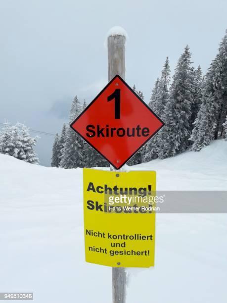 Sign Skiroute, Wallberg, Rottach-Egern, Bavaria, Germany