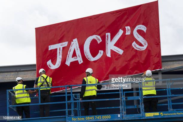 A sign stands above the entrance to a newly opened 'Jack's' discount store operated by Tesco Plc in Chatteris UK on Wednesday Sept 19 2018 With the...