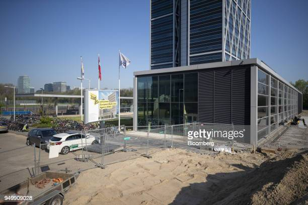A sign stands at the construction site for European Medicines Agency 's new offices in Amsterdam Netherlands on Friday April 20 2018 Brexit will lead...