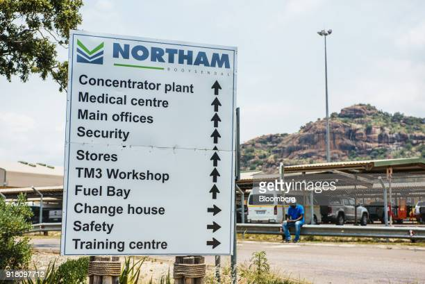 A sign stands at the entrance to the Northam Platinum Ltd Booysendal platinum mine outside the town of Lydenburg in Mpumalanga South Africa on...