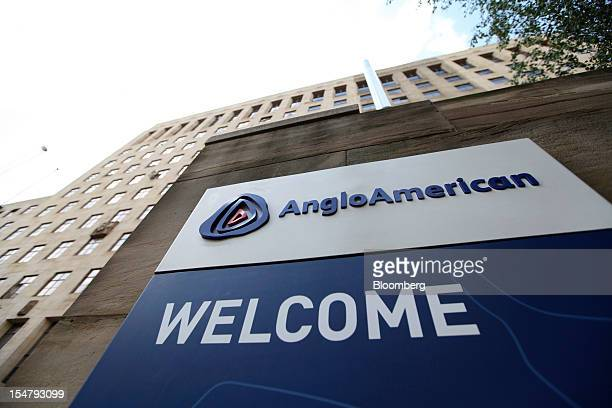 A sign stands at the entrance to the offices of Anglo American Plc in the Marshalltown district of Johannesburg South Africa on Friday Oct 26 2012...
