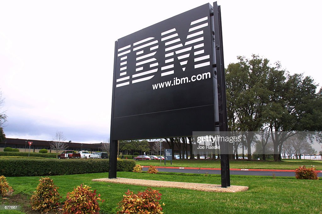 A sign stands at the main entrance of the IBM campus
