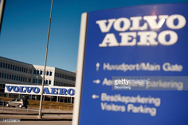 A sign stands at the main entrance to the Volvo Aero factory a division of Volvo AB in Trollhaettan Sweden on Monday March 12 2012 GKN Plc a British...